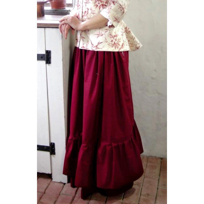 Flounced Drawstring Cotton Skirt - Solid Color SF-145