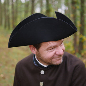 Black Standard Wool Felt Civilian Tricorn TH-815