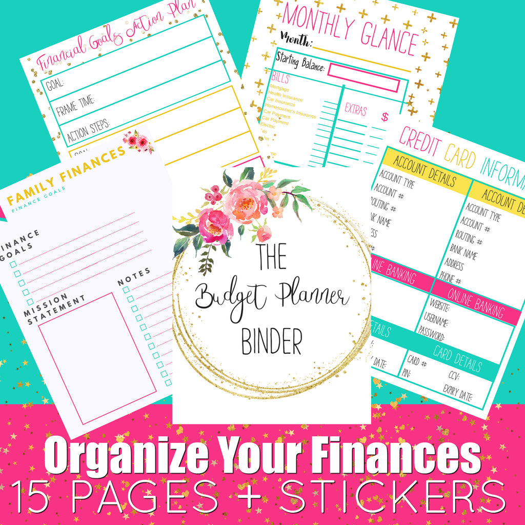 15 beautiful budget planner binder pages stickers