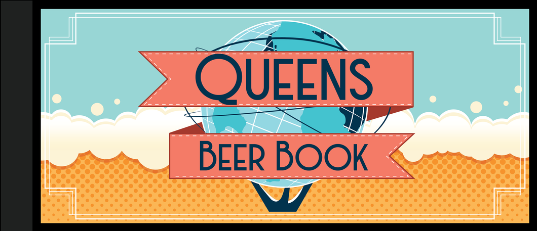 An image of the cover page of The Queens Beer Book which is a Beer Coupon Book for bars in Queens that costs $25 and includes over 20 vouchers for free drinks from the best bars in queens.