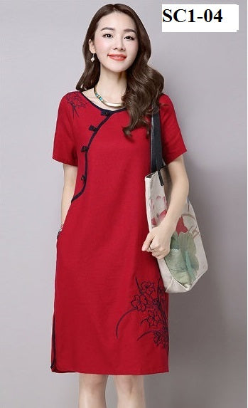 SC1-04 Women's Trendy Cheongsam Collections Red