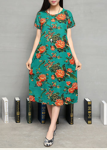 SC-116 Charming Floral Dress Green