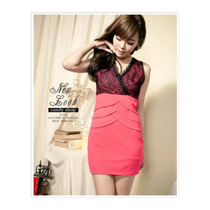 SD79536 - Korea Fashion V Neck Dress