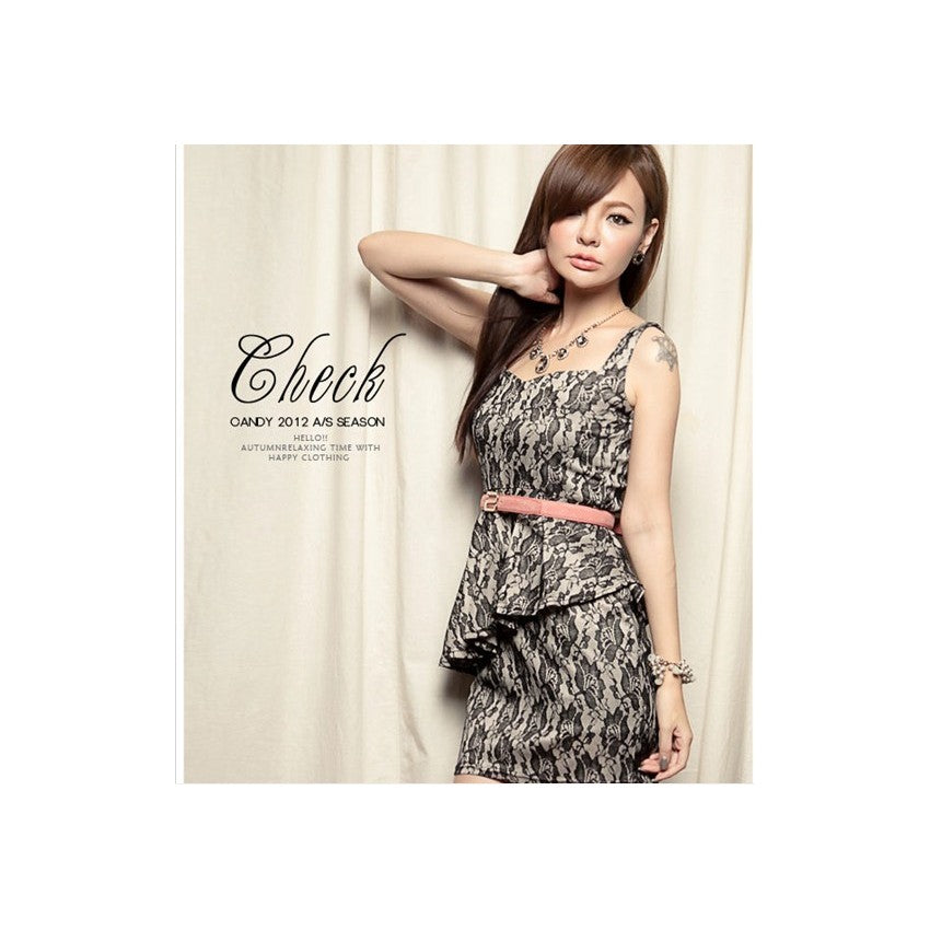 SD96042 - Elegant Lace Peplum Dress