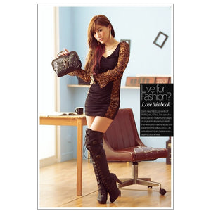 SD97621 - Sexy Leopard Long Sleeve Dress
