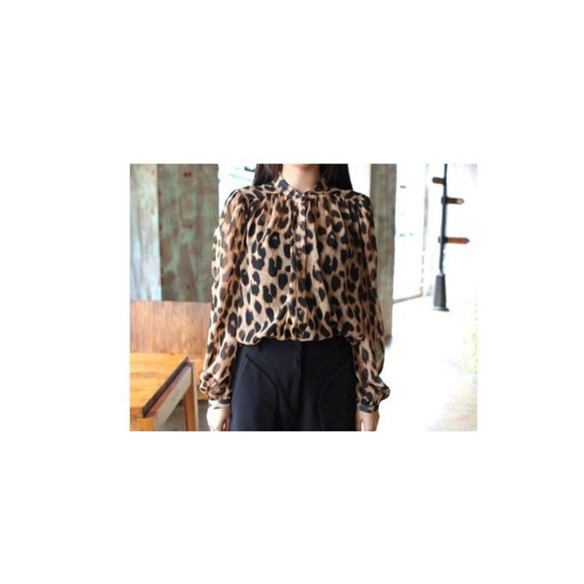 ST90352 - Korea Fashion Leopard Print Chiffon Top