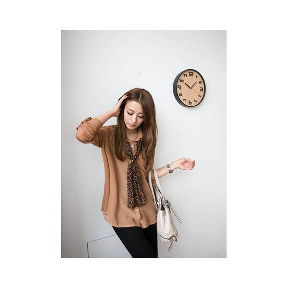 ST213111 - Korea Fashion Casual Top (With Scarf)