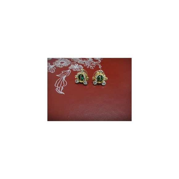 SE70630 - Rhinestone Pumpkin Carriage Earring