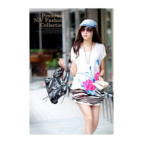 SD985001 - Stylish Butterfly Print Dress