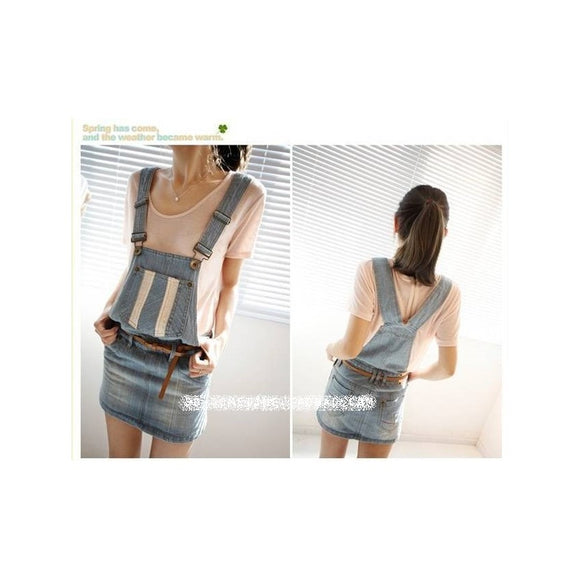 SK98096 - Korea Trendy Strap Denim Dress