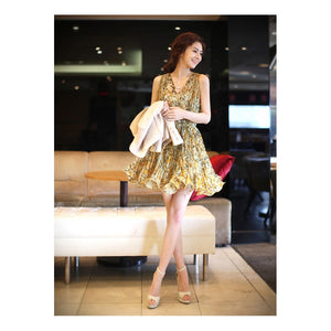 SD211199 - Stylish Flora Chiffon Dress