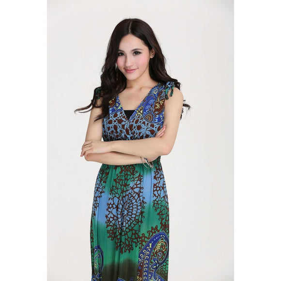 SD90714 - Stylish Bohemia V Neck Maxi Dress