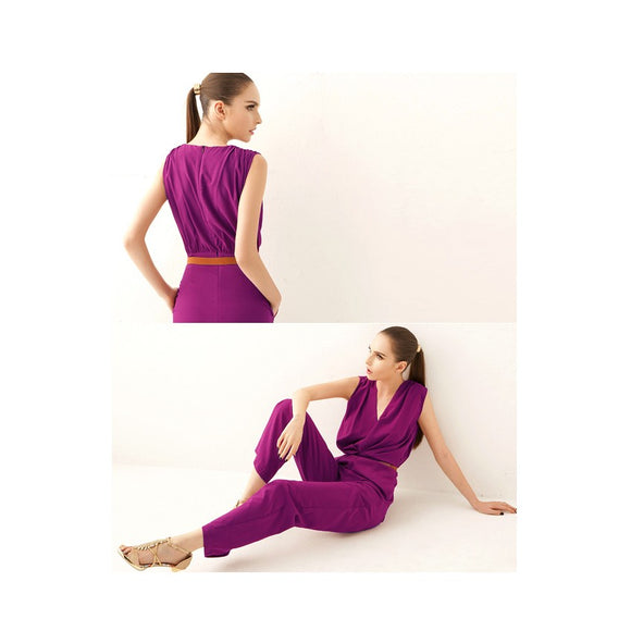 SP215135 - European V Neck Jumpsuit