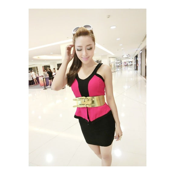 SD99010 - Stylish Two Tone Dress (With Belt)