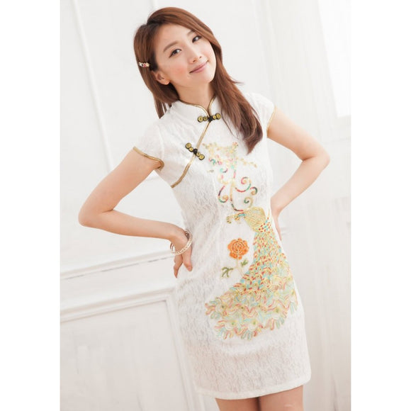 SC59738 - Embroidered Peacock Cheongsam