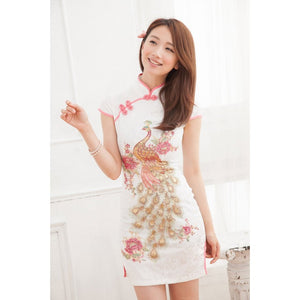 SC59733 - Embroidered Peacock Cheongsam