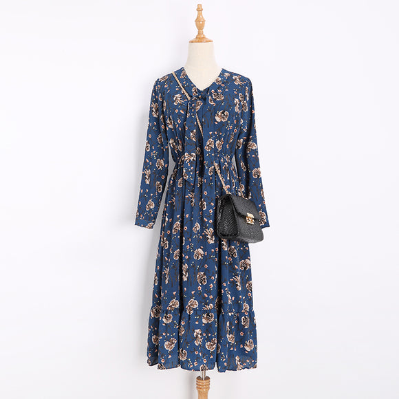 SD 22-18 Floral Printed Midi Dress Blue