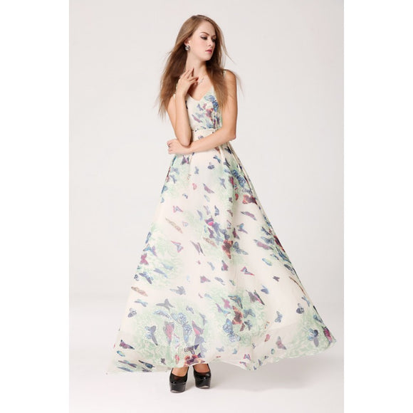 SD98102 - Stylish Butterfly Print Maxi Dress