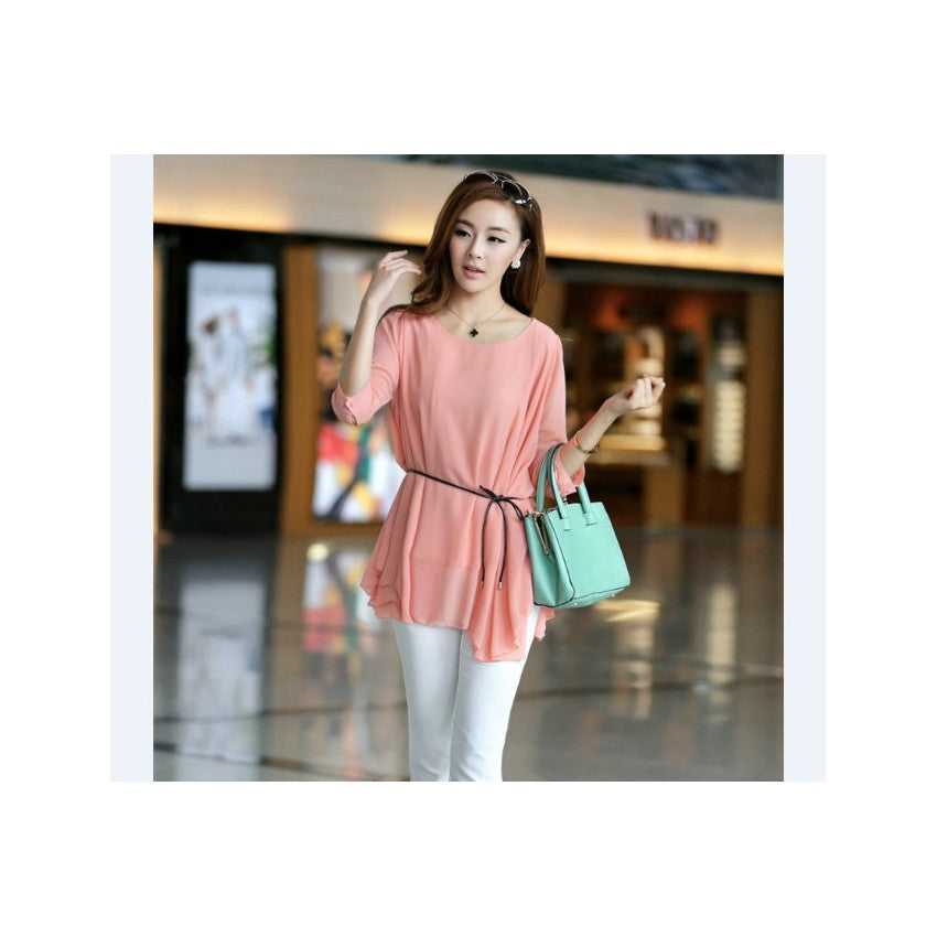 ST93126 - Korea StylisH Chiffon Top (With Belt)