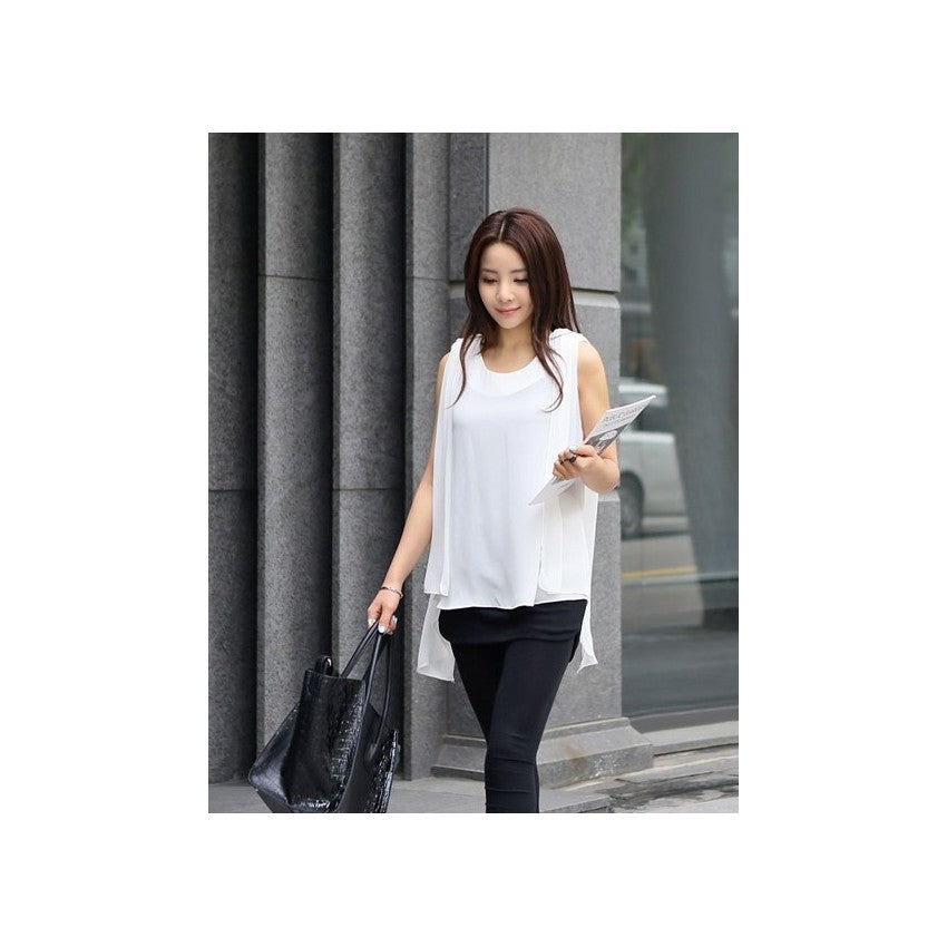ST75633 - Korea Fashion Chiffon Top (With Belt)