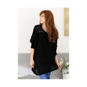 ST986049 - Fashion Knitted Bat Sleeve Top