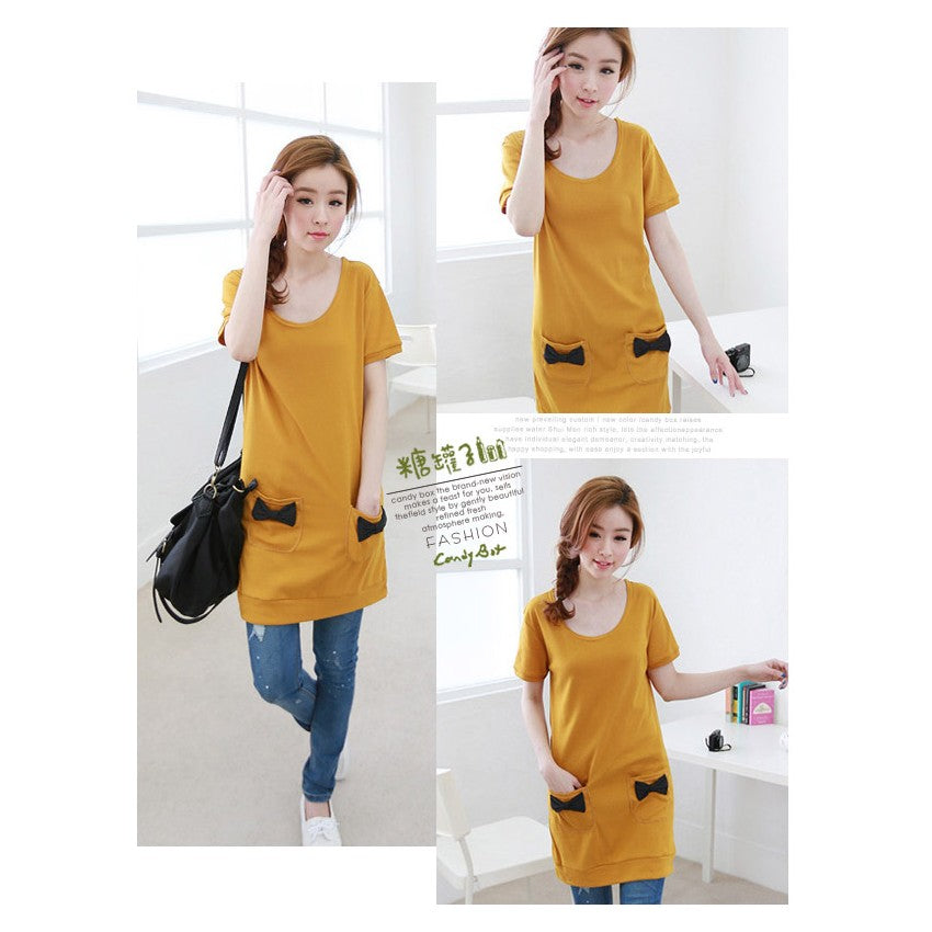 SD75769-1 - Korea Fashion Ribbon Pocket Dress