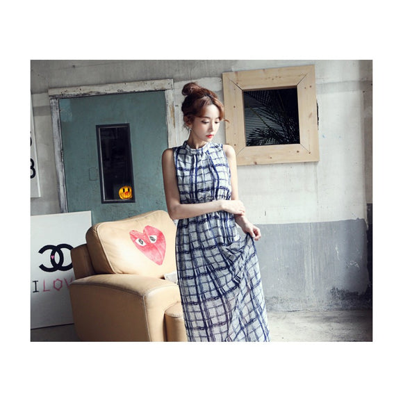 SD9281 - Korea Fashion Sleeveless Chiffon Maxi Dress