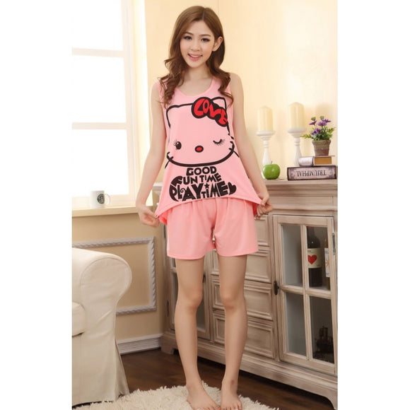 SL91345 - Cute Two Piece Hello Kitty Pyjamas (1 Set)