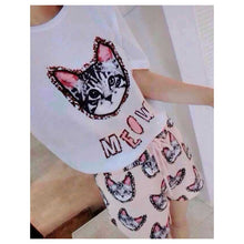 Load image into Gallery viewer, SP78179 - Fashion Cat Print Set (Top & Pant)