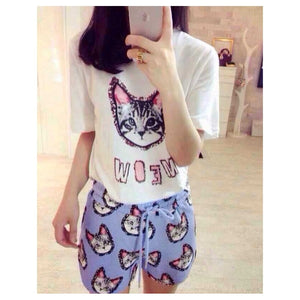 SP78179 - Fashion Cat Print Set (Top & Pant)