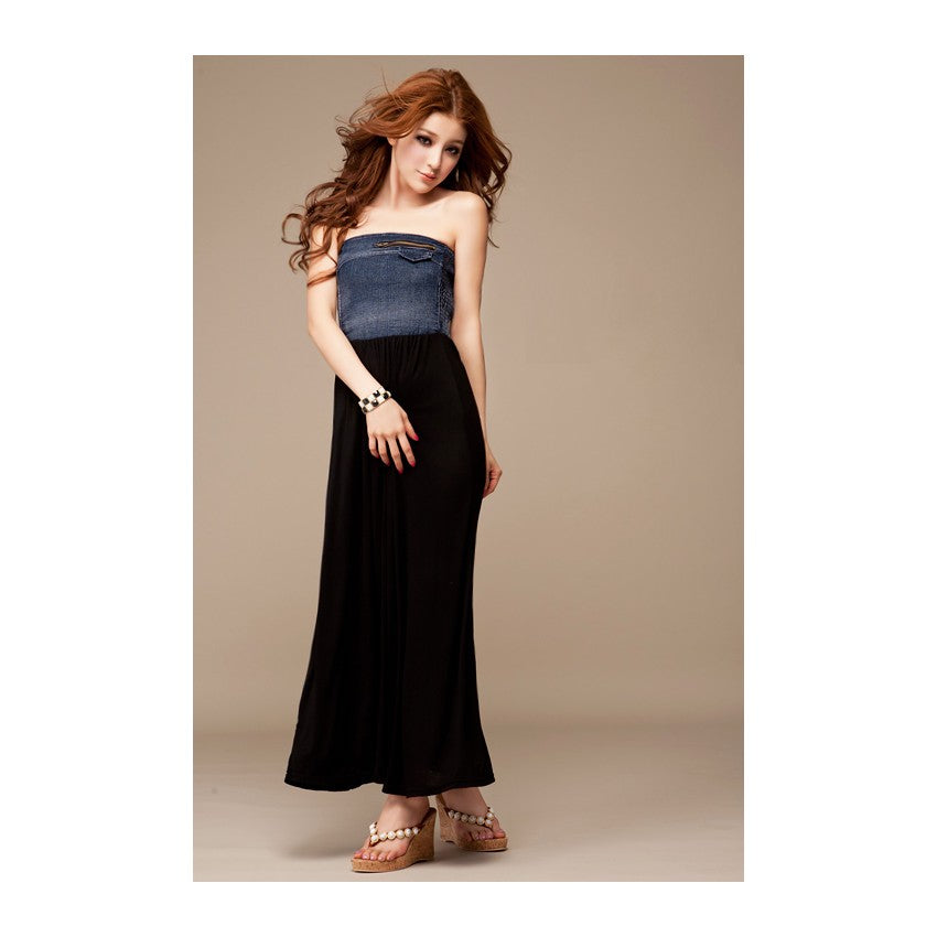 SD27575 - Korea Stylish Tube Maxi Dress