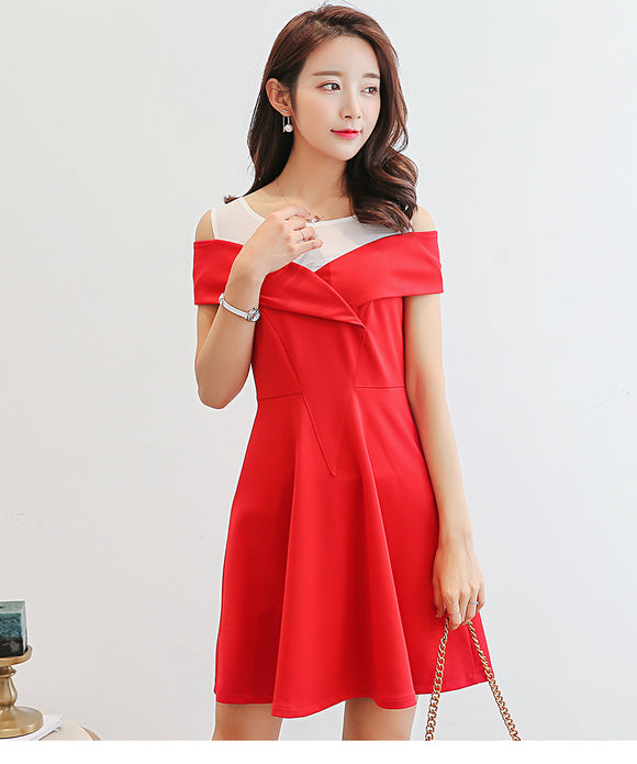 SD 5255 Women's Trendy Dress Red