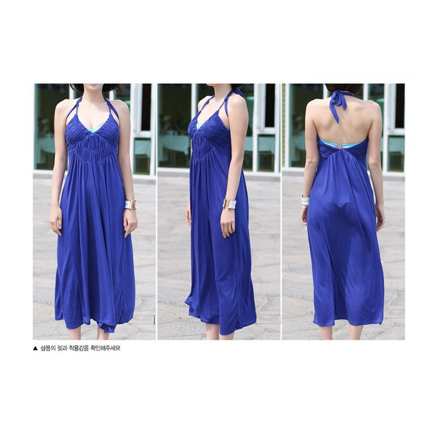 SD210762 - Korea Stylish Halter Neck Maxi Dress