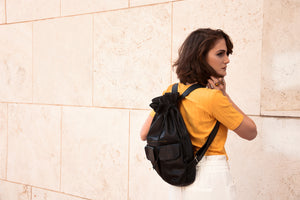 Large Black Leather Backpack - Nymphaea design