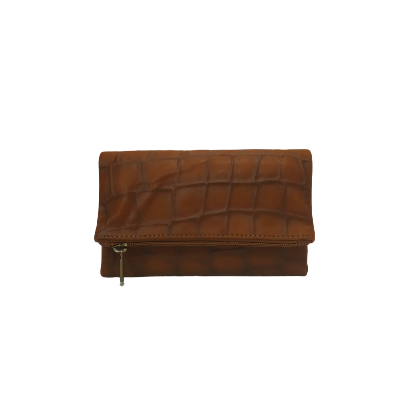 Women Leather Wallet in Brown - Nymphaea design
