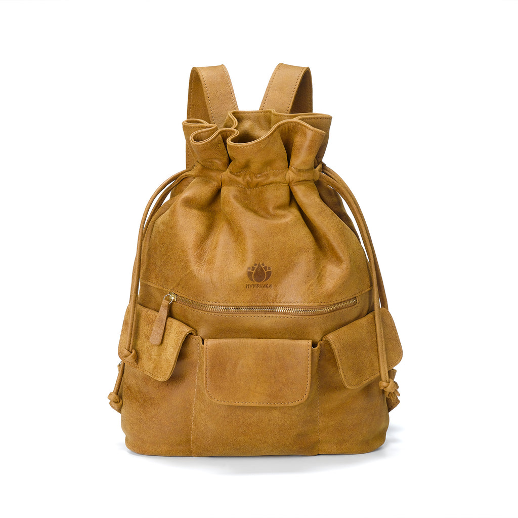 Large Brown Leather Backpack - Nymphaea design