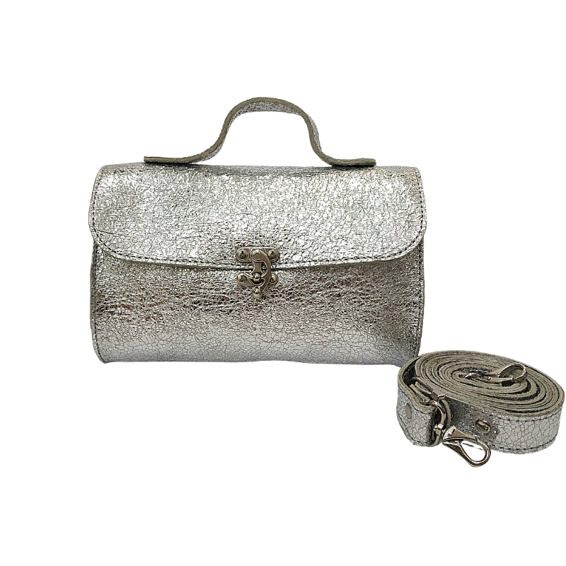 Evening Silver Leather bag - Nymphaea design