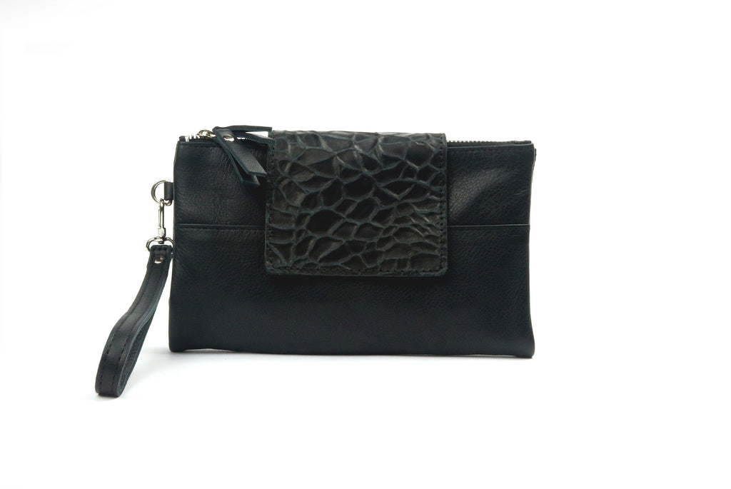 Soft Black Leather Wallet - Nymphaea design