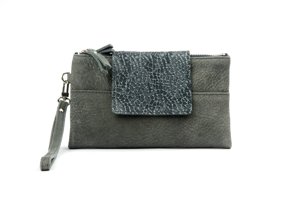 Soft Gray Leather Wallet - Nymphaea design