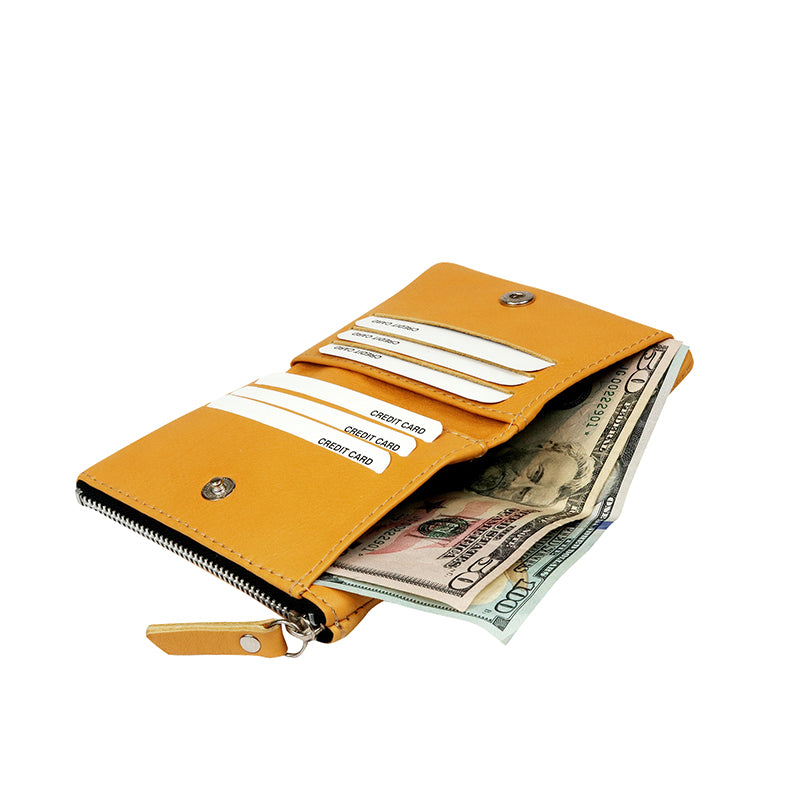 Mini Yellow Wallet - Nymphaea design