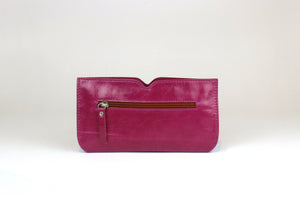 Purple Butterfly Leather Wallet - Nymphaea design