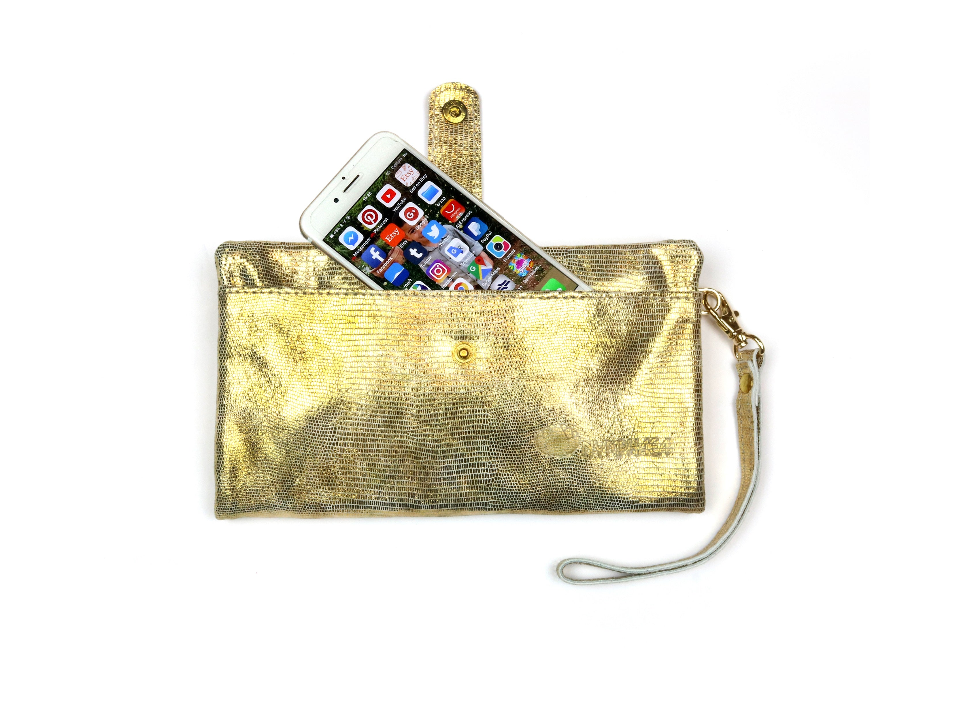 Large Gold Leather wallet - Nymphaea design