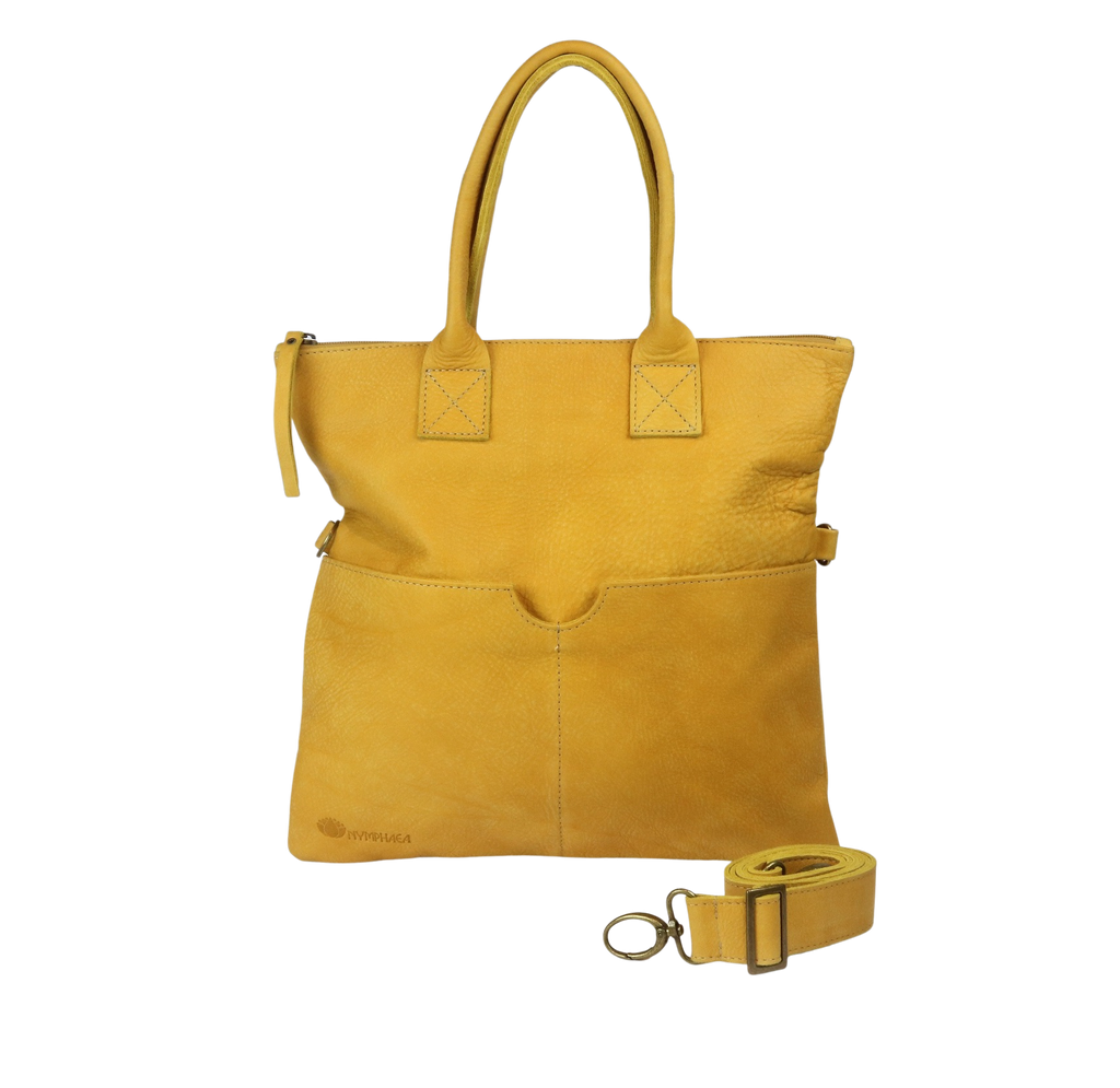 Yellow shoulder leather bag - Nymphaea design