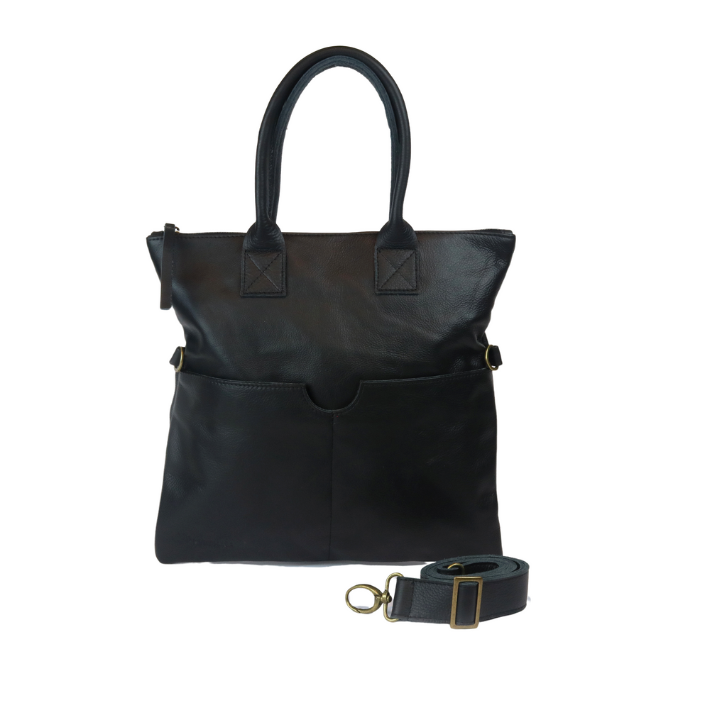 Black shoulder Leather bag - Nymphaea design