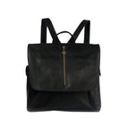 Adelle Black Leather Backpack - Nymphaea design