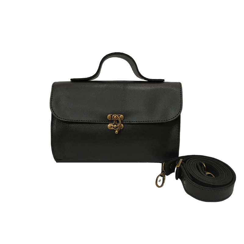 Evening Black Leather bag - Nymphaea design