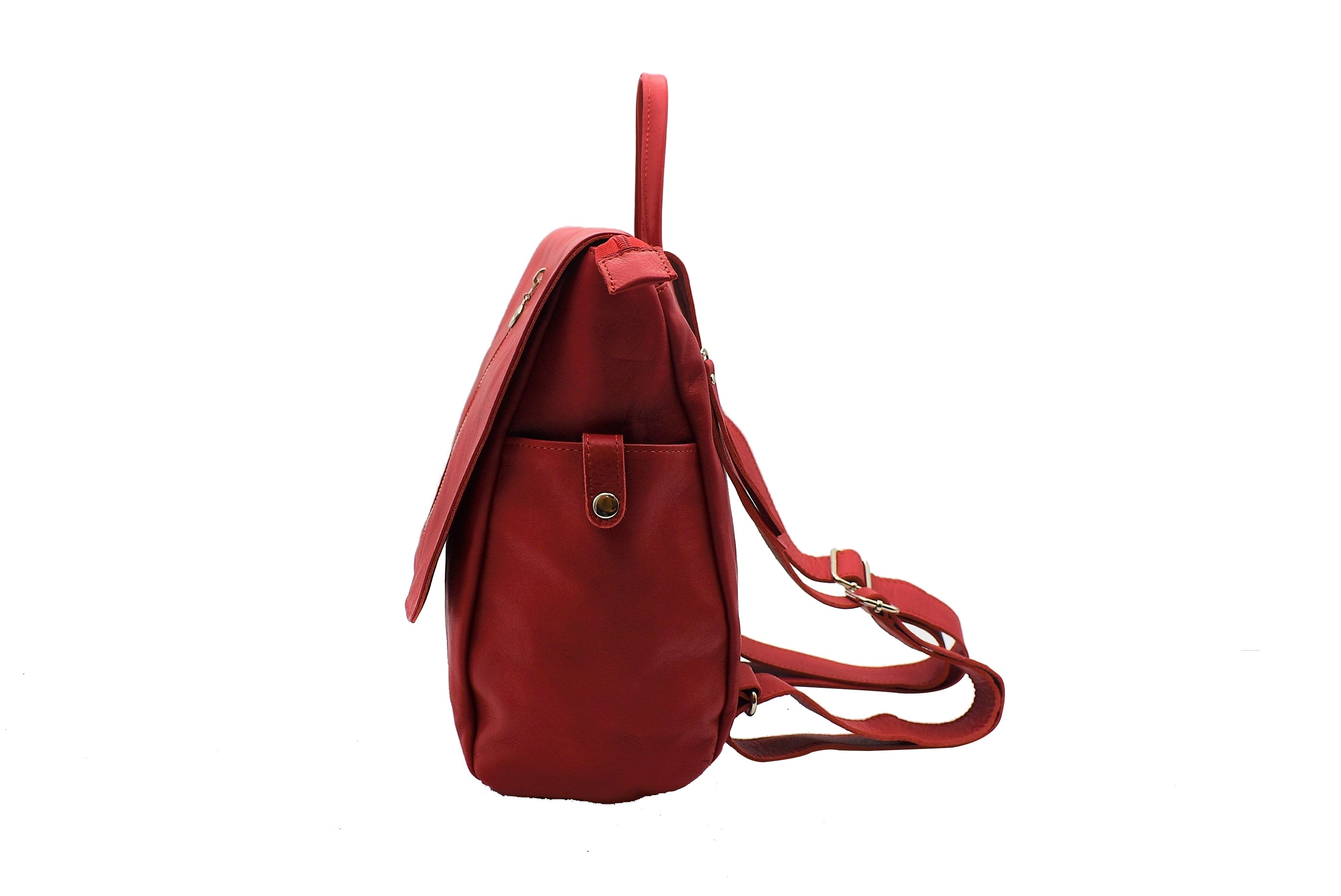 Adelle Red Leather Backpack - Nymphaea design