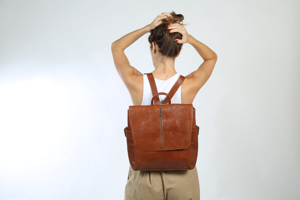 Adelle Brown Leather Backpack - Nymphaea design