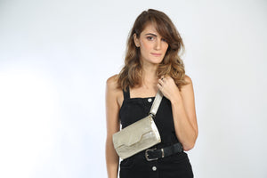 Gold Leather Fanny Pack - Nymphaea design