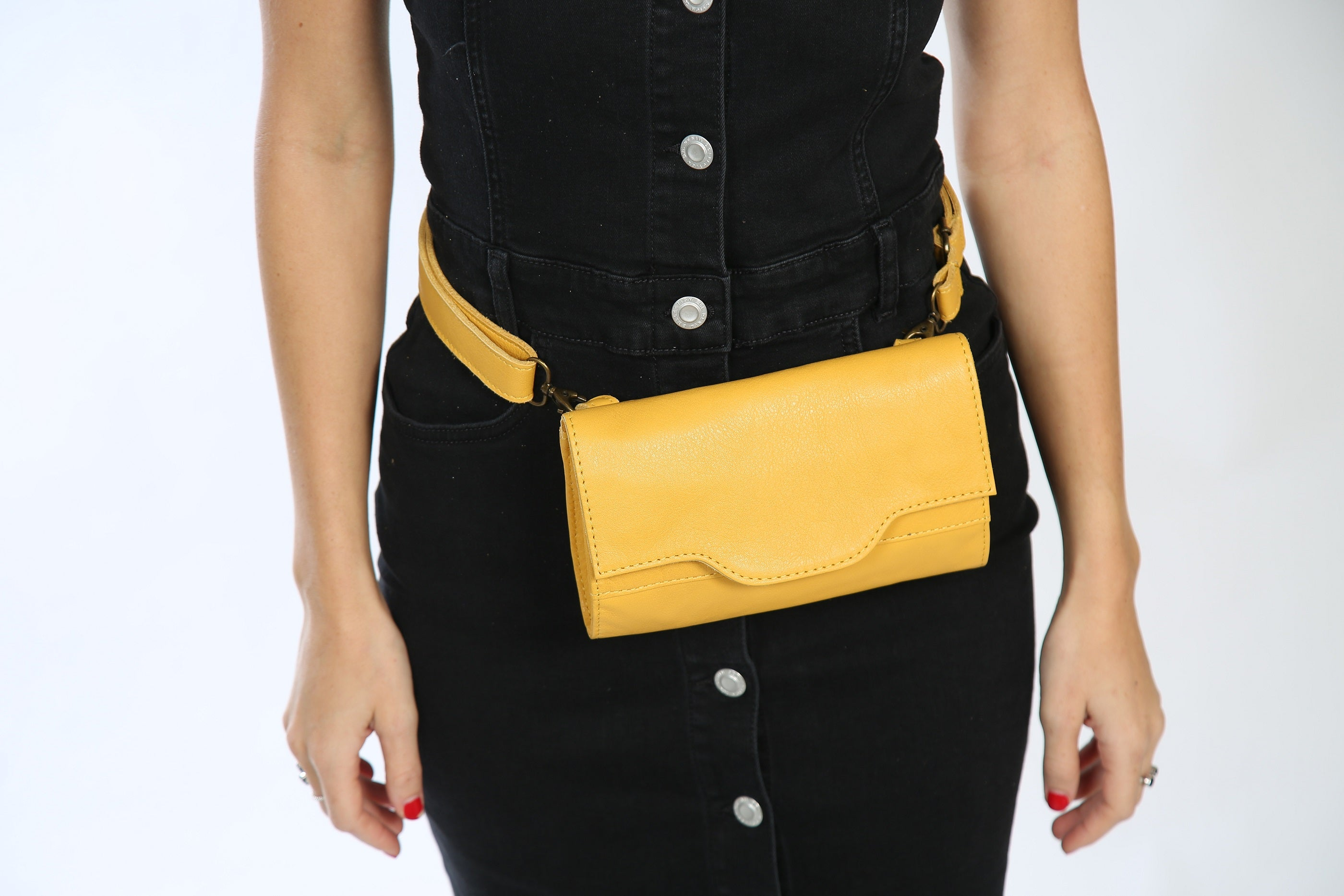 Yellow Leather Fanny Pack - Nymphaea design